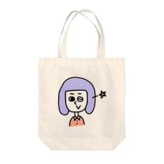 ウインク! Tote bags