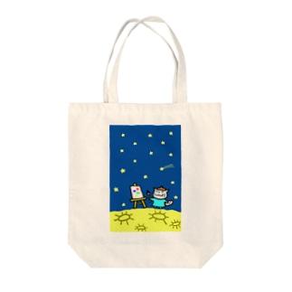 えかきにゃんこのお店♪のえかきにゃんこ月でおえかき Tote bags