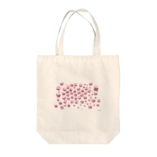 ピンクボックス散乱 Tote bags