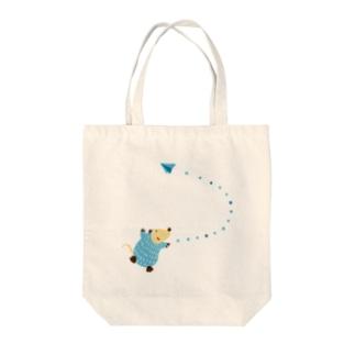 青ネズミの紙ヒコーキ Tote bags