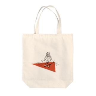 折り紙サンカクガール Tote bags