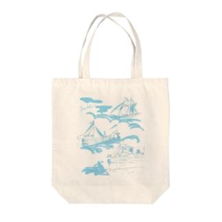 【yuruholism original】cruise ship クルーズ 帆船 船 蒸気船 水色 Tote bags
