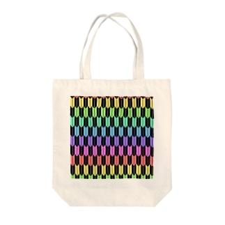 Yagasuri(Pastel Rainbow - Black) Tote bags