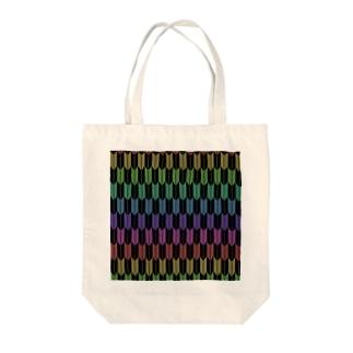 Yagasuri(Vintage Rainbow - Black) Tote bags