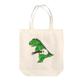 恐竜とウクレレ Tote bags