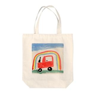 虹とくるま Tote bags