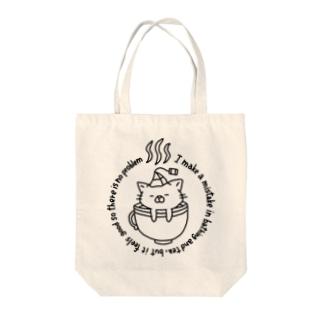 tea bath cat トートバッグ Tote bags