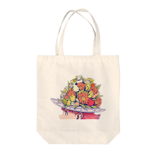 ホリプーイラストショップのflower girl Tote bags