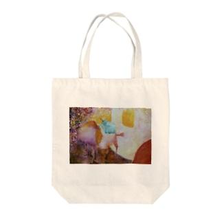 油絵 お散歩中のわんちゃん Tote bags