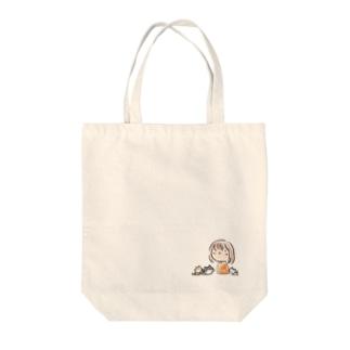 ゆるい女の子と猫 Tote bags