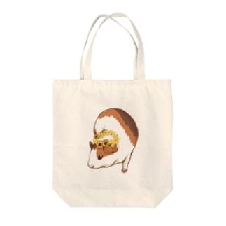 ミモザの花かんむりとモルモット Tote bags
