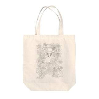 【大人の塗り絵】鳥と花Ver1 Tote bags