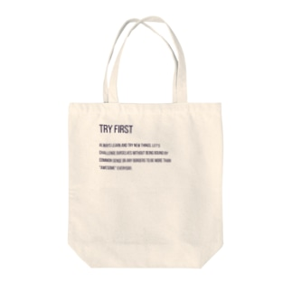 TRY FIRST Tote bags