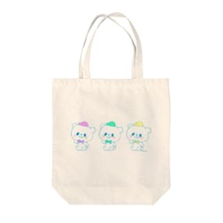 カラフルおやまくま3びき Tote bags