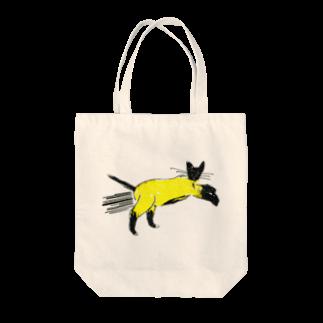 horimotoxxyukiのflying cat Tote bags