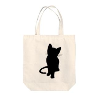 シンプルに黒猫 Tote bags
