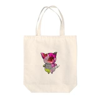 カラフルぶたさん Tote bags