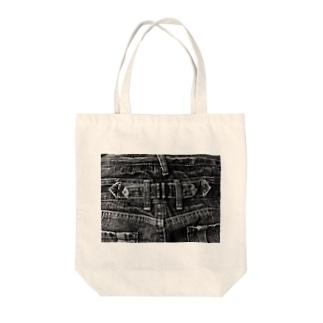 Black Denim Tote bags