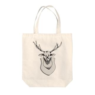 ニヤニヤした鹿さん Tote bags