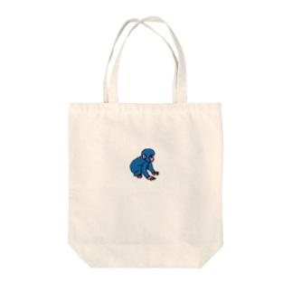 今日もよろしくお願いしますだのブルーモンキー Tote bags