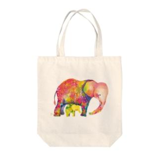 赤いゾウと黄色い子ゾウ トートバッグ