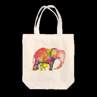 サトウレイナの赤いゾウと黄色い子ゾウトートバッグ