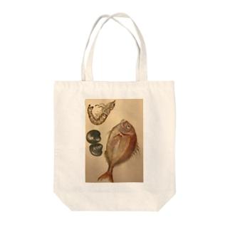 海老と鯛と貝 Tote bags