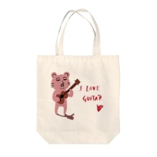 ピン君 I LOVE GUITAR Tote bags