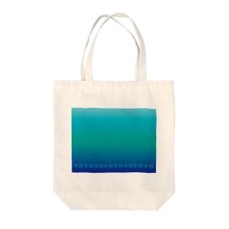 空と海の青 ミンサー [Hello!Okinawa] Tote bags