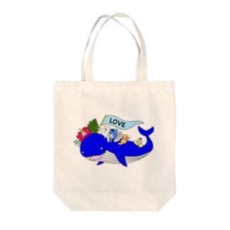 くじらグッズラブ Tote bags