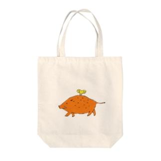 ゼンマイ仕掛けのイノシシ Tote bags