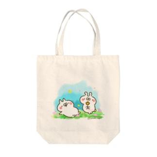 ねことうさぎ原っぱ Tote bags
