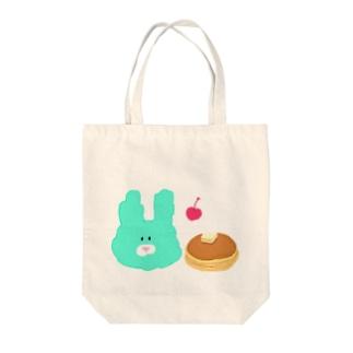 みどりのうさぎとパンケーキさくらんぼ付 Tote bags
