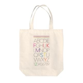 7カラー アルファベット    黒文字 Tote bags
