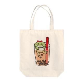 タピオカミルクティー カエル味 Tote bags