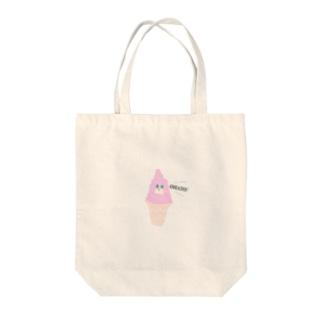 ピンクのソフトクリーム Tote bags