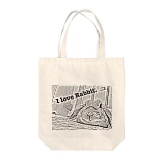 I love Rabbit.モノクロ Tote bags