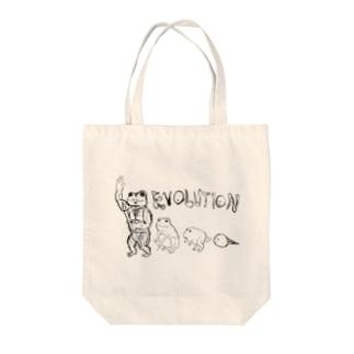 カエルエボリューション Tote bags