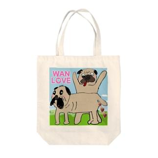 パグ Wan Love Tote bags