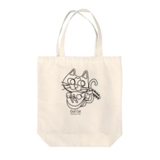 ウード猫おめめぱっちりバージョン モノクロ Tote bags