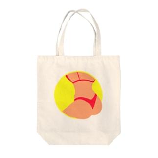 Summer Butt(ネオンイエロー) Tote bags