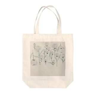 ホワイトローズ Tote bags