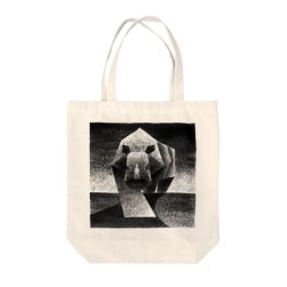 Monochrome rhino Tote bags