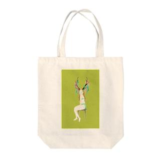 鹿女 みどりちゃん  Tote bags