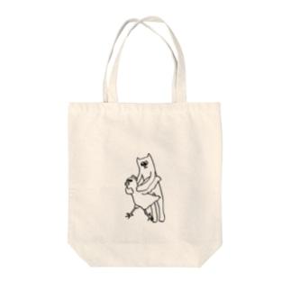 ひと狩りいったネコ Tote bags