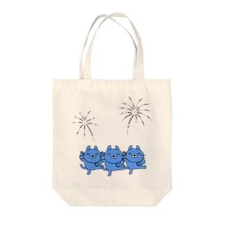 うたっておどる、青いネコ Tote bags