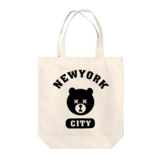 NYC BEAR ニューヨークシティベアー 熊 カレッジロゴ Tote bags