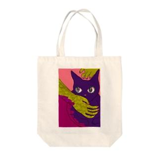 春の手になでられる猫 Tote bags