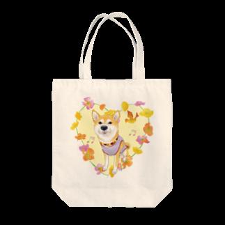 Atelier-Queueの赤柴Ⅳ(花輪②) Tote bags