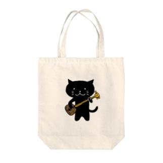 くろねこ沖縄三味線 Tote bags